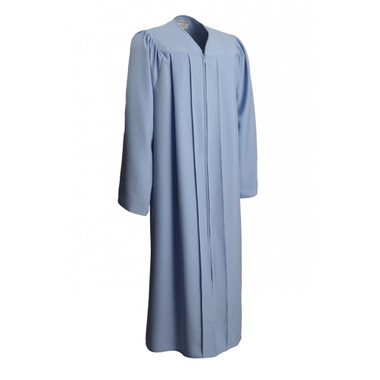 Shown is matte sky blue gown (Cool School Studios 0023), full front view.