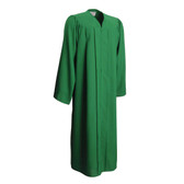 Shown is matte emerald green gown (Cool School Studios 0024), full front view.