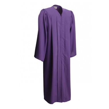 Shown is matte purple gown (Cool School Studios 0025), full front view.