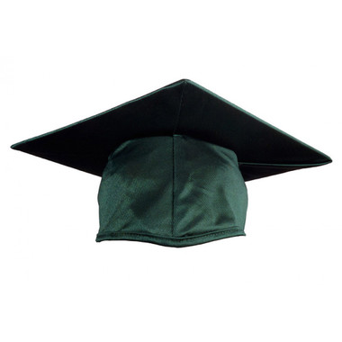 Shown is shiny forest green cap (Cool School Studios 0056), front view.
