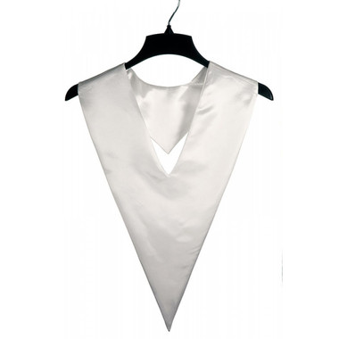 Shown is white v-stole (Cool School Studios 0089), front view.