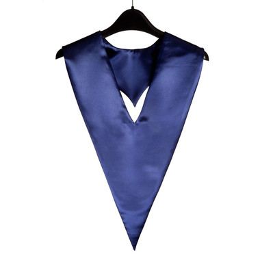 Shown is navy blue v-stole (Cool School Studios 0096), front view.