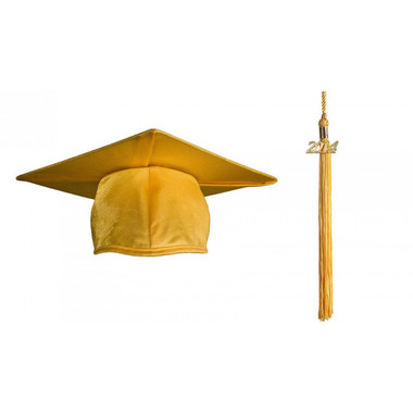 Shown is the shiny gold cap & tassel (Cool School Studios 0113).