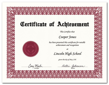 Shown is certificate border, style 1, in burgundy ink on parchtone paper (Cool School Studios 02201).