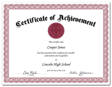 Shown is certificate border, style 2, in burgundy ink on white paper (Cool School Studios 02202).