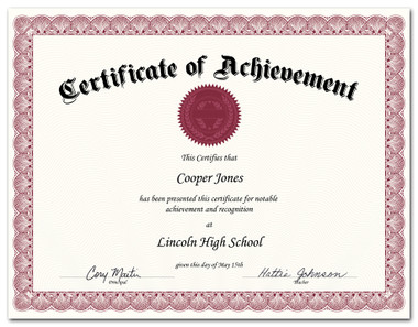Shown is certificate border, style 2, in burgundy ink on parchtone paper (Cool School Studios 02203).
