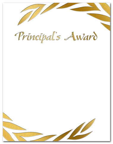 Gold Foil Embossed Principal's Award from Cool School Studios.