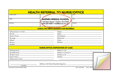Image shows custom imprint on Health Referral 3-part Carbonless Form from Cool School Studios.