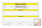Image shows custom imprint on Discipline Notice 3-part Carbonless Form from Cool School Studios.