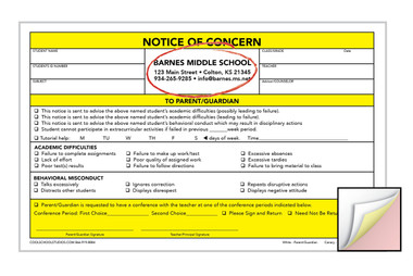 Image shows custom imprint on Notice of Concern 3-part Carbonless Form from Cool School Studios.