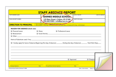 Image shows custom imprint on Staff Absence 3-part Carbonless Report from Cool School Studios.