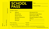 Image shows Bright Lemon Yellow tardy slip (Cool School Studios FORM 05008).