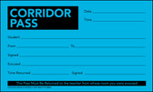 Image shows Bright Lunar Blue corridor pass (Cool School Studios FORM 05011).
