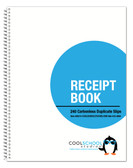 Image shows front cover of 05014 2-part Carbonless/Numbered Receipt Book from Cool School Studios.