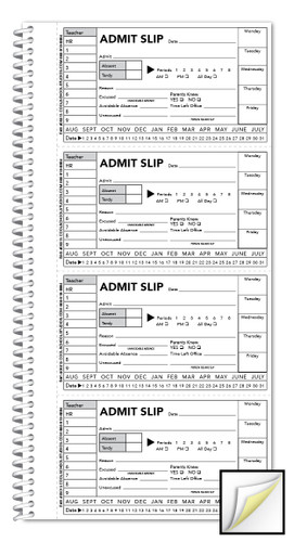 Image shows inside page of Student Admit Slip Book (05013).