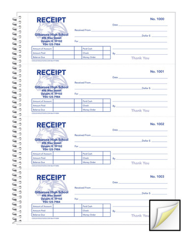 custom receipt book 2 part carbonless numbered 240 sets each