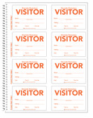 Shown is a page from Cool School Studios' Custom ID Secure-D Visitors Duplicate Log-in Book (04004), allowing the school name to appear above the word VISITOR.