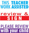 Image shows the three stamp images included with the product: This Work Teacher Assisted, Review & Sign, and Please Review with Your Child.