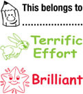 Image shows the three stamp images included with the product: This belongs to..., Terrific Effort, and Brilliant.