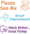 Image shows the three stamp images included with the product: Please See Me, Great Improvement, and Much Better...Keep Trying.