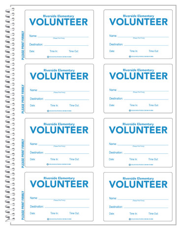 Shown is a page with 8 badges from the Custom Volunteer ID Secure-D Duplicate Log-in Book from Cool School Studios (04006).