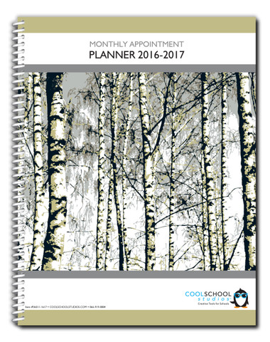 Pictured is the cover of Cool School Studios' Academic Monthly Planner (06011-1617).