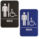 "Shown is 6"" x 9"" Men ADA Compliant Sign with Wheelchair from Cool School Studios (ADA101_201)."