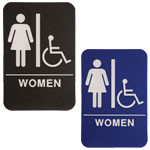 "Shown is 6"" x 9"" Women ADA Compliant Sign with Wheelchair from Cool School Studios (ADA102_202)."