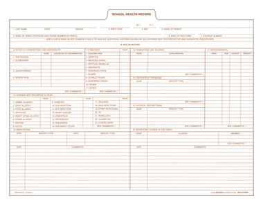 Image shows view of one side of the CA60C Health Record Insert.