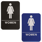 "Shown is 6"" x 9"" Women ADA Compliant Sign from Cool School Studios (ADA106_206)."