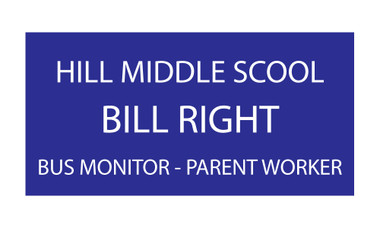 """Shown is 2"""" x 3"""" Engraved Name Badge (J14) from Cool School Studios."""