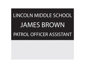 "Shown is 1-1/2"" x 3"" Pocket Name Badge (J33) from Cool School Studios."
