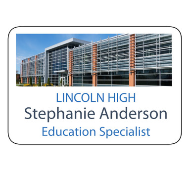 "Shown is 2"" x 3"" Full Color Name Badge (J14SUB) from Cool School Studios."
