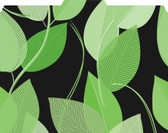 Image shows file folder with 1/3 cut tab, green leaves pattern with black background.
