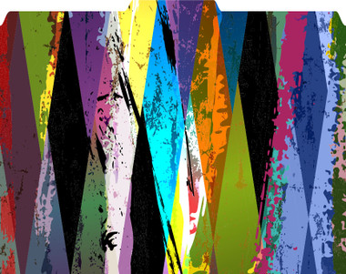 Image shows 1/3 cut tab folder in diamond abstract pattern. Colors are black, green, purple, dark red, orange, yellow and other colors in variations shades in a roughened diamond-like pattern.