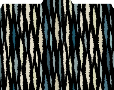 Image shows a file folder with a roughened diamond-like pattern in black with muted blue and tan tones. 1/3 cut tab on the top.