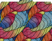 Image shows a graphic leaf pattern outlined in black with various, bright colors filled inside the leaves. Primarily jewel tones in purples, blues and reds. 1/3 cut tab.