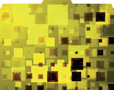 Images shows a file folder in yellow, gold and black in a block-style pattern. 1/3 cut tab on top edge of folder.