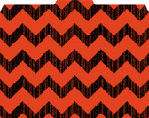 Images shows a 1/3 cut tab file folder in a chevron pattern (black and red).