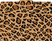 Image shows a 1/3 cut tab file folder with a leopard print pattern in tans, browns and blacks.