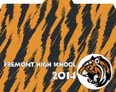 "Image shows a custom file folder with tiger print/pattern background and ""Fremont High School 2014"" text/tiger mascot. This folder can be customized with your school and logo. 1/3 cut tab."
