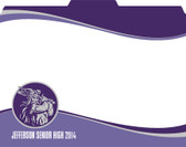 Image shows a custom File-'N Style folder in a purple swish pattern with mascot and school name. This item can be customized with your school information and mascot in your school colors. 1/3 cut tab.