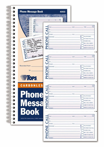 Image shows inside page and cover of 4003 Cool School Studios Phone Message Book.