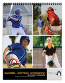 Shown is the cover of the 24 game Baseball/Softball Scorebook (Item #BR 555 from Cool School Studios).