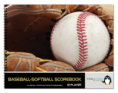 View of the outside cover of the 24 game Baseball/Softball Detailed Scorebook from Cool School Studios (BR 504).