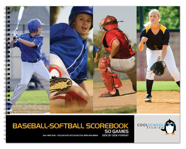 Photo of the cover of the Side by Side Baseball/Softball Scorebook from Cool School Studios (BR 546).