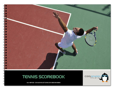 Image shows the cover of the 24 match Tennis Scorebook from Cool School Studios (BR 513).