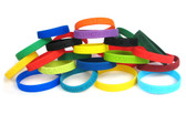 Shown are debossed wristbands from Cool School Studios (4011). Available in 20 color choices.