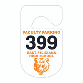 Pictured is Cool School Studios' 1-color Consecutive Numbered Plastic Parking Hang Tag (KC-10H_N1).