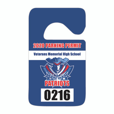View of 2-color consecutive numbered plastic parking hang tag from Cool School Studios (KC-4H_N2).